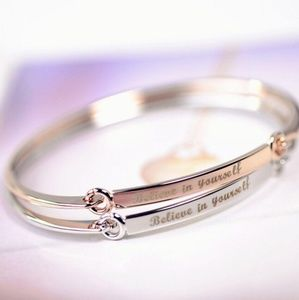 """Gold & Silver Tone """"Believe In Yourself"""" Bangle"""